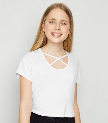 Girls White Lattice Front T-Shirt
