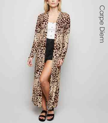 Carpe Diem Brown Animal Print Maxi Kimono