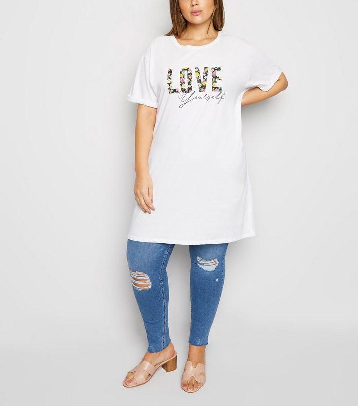 ef6c511867d2c ... Curves White Love Slogan Longline T-Shirt. ×. ×. ×. Shop the look