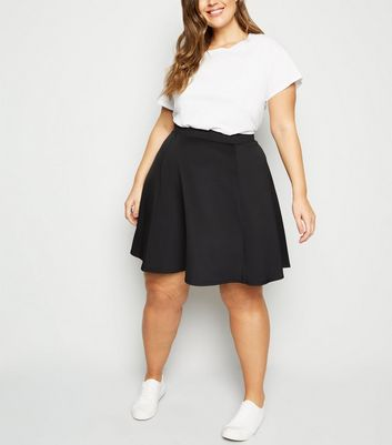 Curves Black High Waist Skater Skirt