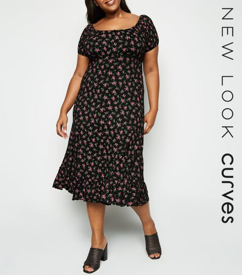 d09feca9f26 ... Curves Black Ditsy Floral Milkmaid Midi Dress ...