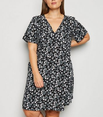 Curves Black Floral Print Dress