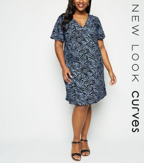 fafafa1dd65 ... Curves Blue Zebra Print Mini Dress ...