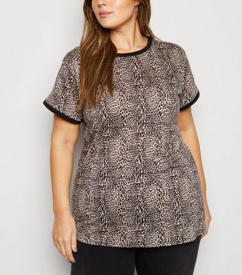 Brown Animal Print Ringer T-Shirt