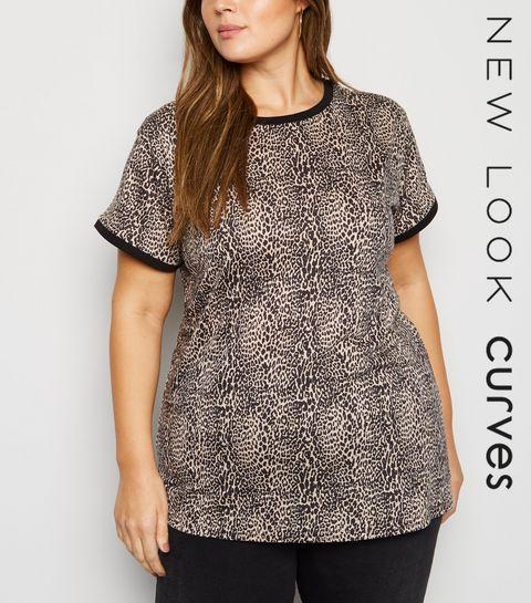 85105a9c9cdf9b ... Brown Leopard Print Ringer T-Shirt ...
