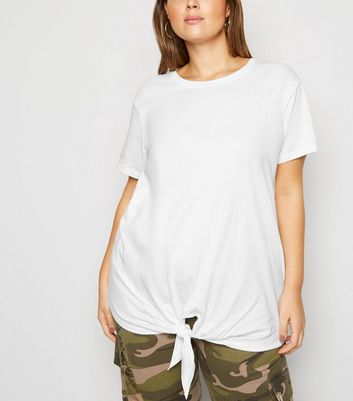 Curves White Tie Front T-Shirt