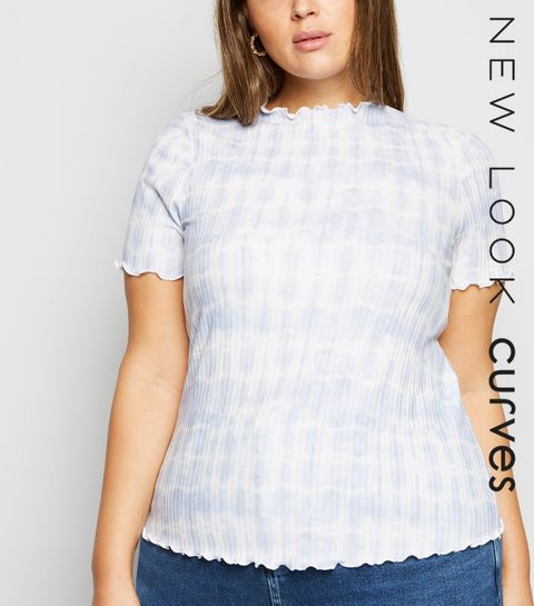 c10c0083a9d69e ... Curves Blue Tie-Dye Ribbed Frill Trim T-Shirt ...