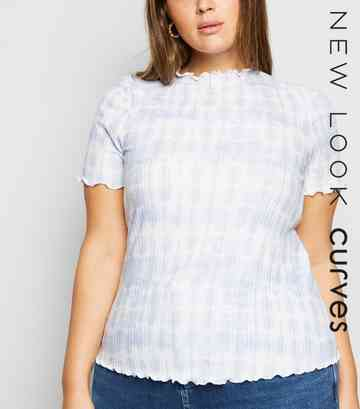 Curves Blue Tie-Dye Ribbed Frill Trim T-Shirt