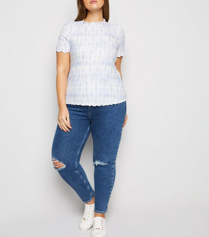 dfe351461111 ... Curves Blue Tie-Dye Ribbed Frill Trim T-Shirt. ×. ×. ×. Shop the look