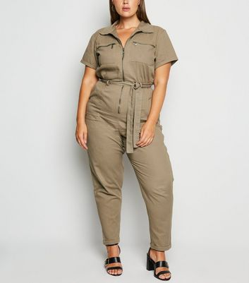 Curves Khaki Short Sleeve Utility Boilersuit