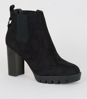 Wide Fit Black Ring Back Heeled Chelsea Boots