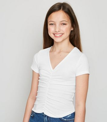 Girls White Ruched Front Ribbed Short Sleeve Top