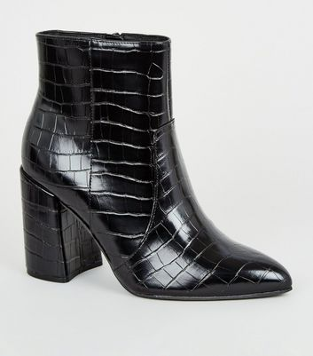 Wide Fit Black Faux Croc Flared Heel Boots