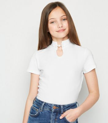 Girls White High Neck Clasp Front Top