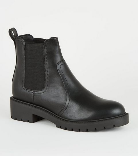 06127475f08ca Wide Fit Black Leather-Look Chelsea Boots ...