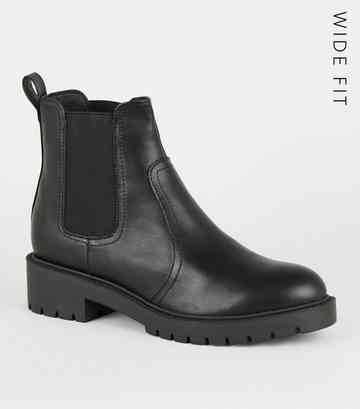 8fc73fc99e903 Wide Fit Black Leather-Look Chelsea Boots ...