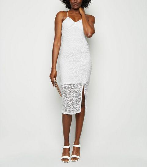 e892c1d27f ... White Lace Bustier Midi Dress ...