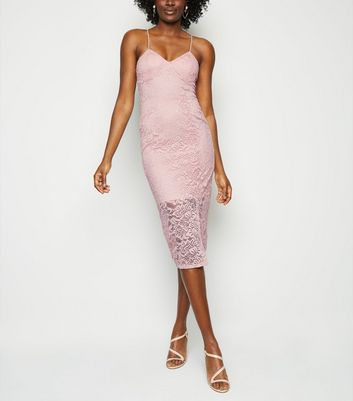 Pale Pink Lace Bustier Midi Dress