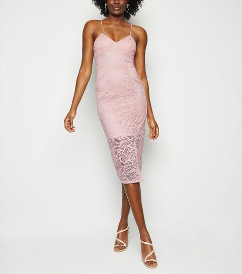 986546e4532 ... Pale Pink Lace Bustier Midi Dress ...
