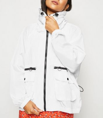 Petite White Windbreaker Jacket