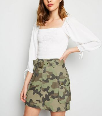 Green Camo Denim Utility Skirt