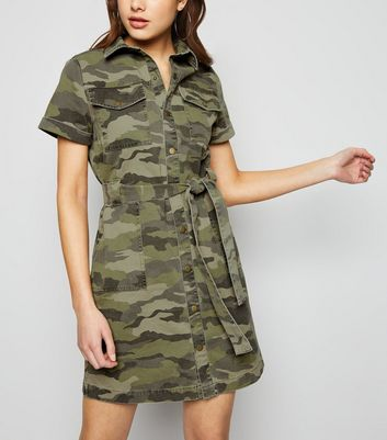 Green Camo Denim Shirt Dress