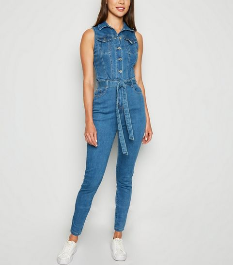 1a3632560a58 Blue Denim Belted Jumpsuit · Blue Denim Belted Jumpsuit ...