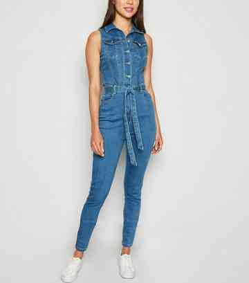 Blue Denim Belted Jumpsuit