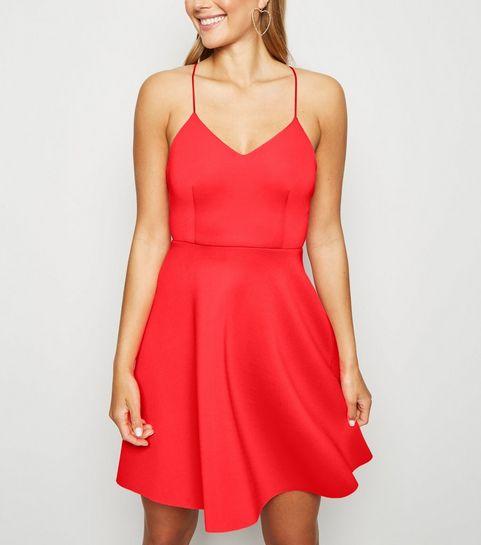 0871e6c29eb3 ... Coral Neon Scuba Strappy Skater Dress ...
