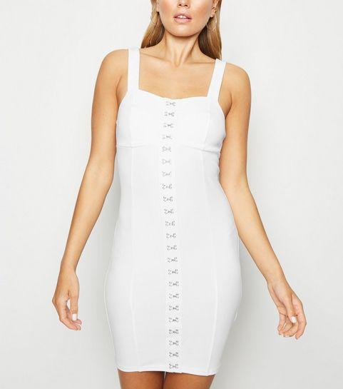 20019ebfebf5e9 ... White Hook And Eye Bodycon Dress ...