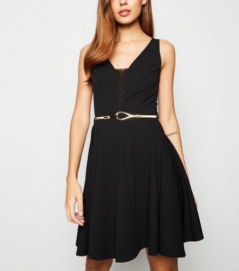 2a71346b9e ... Black Mesh Panel Belted Skater Dress ...