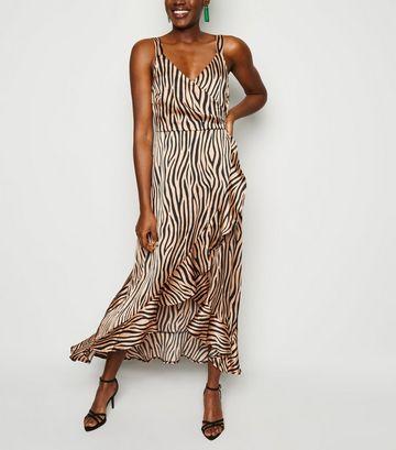 Brown Satin Tiger Print Ruffle Midi Dress