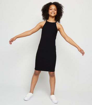Girls Black Reflective Side Tape Dress