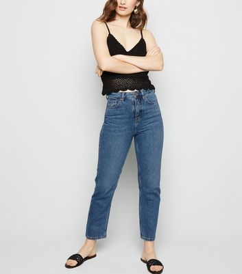Blue Mid Wash Straight Leg Jeans