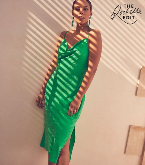 b86ef706f81 ... Green Satin Tiger Jacquard Midi Dress ...