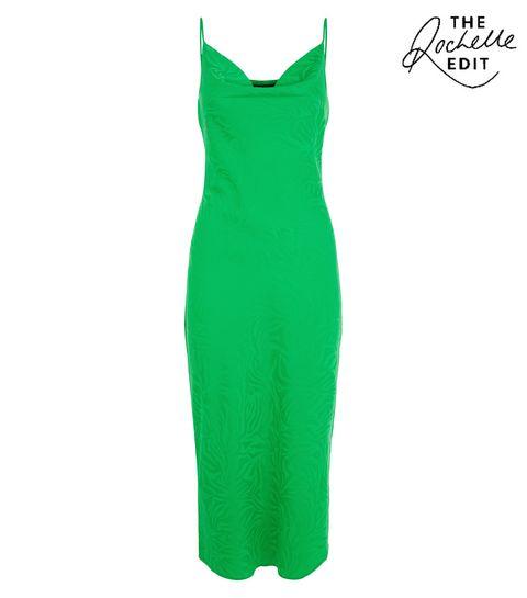 0cf308e5737 ... Green Satin Jacquard Midi Dress ...