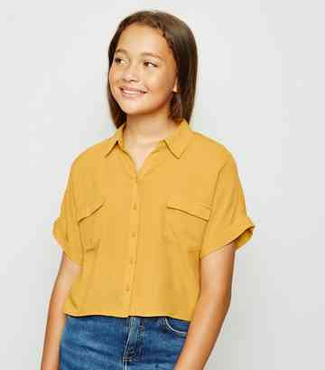 Girls Mustard Utility Shirt