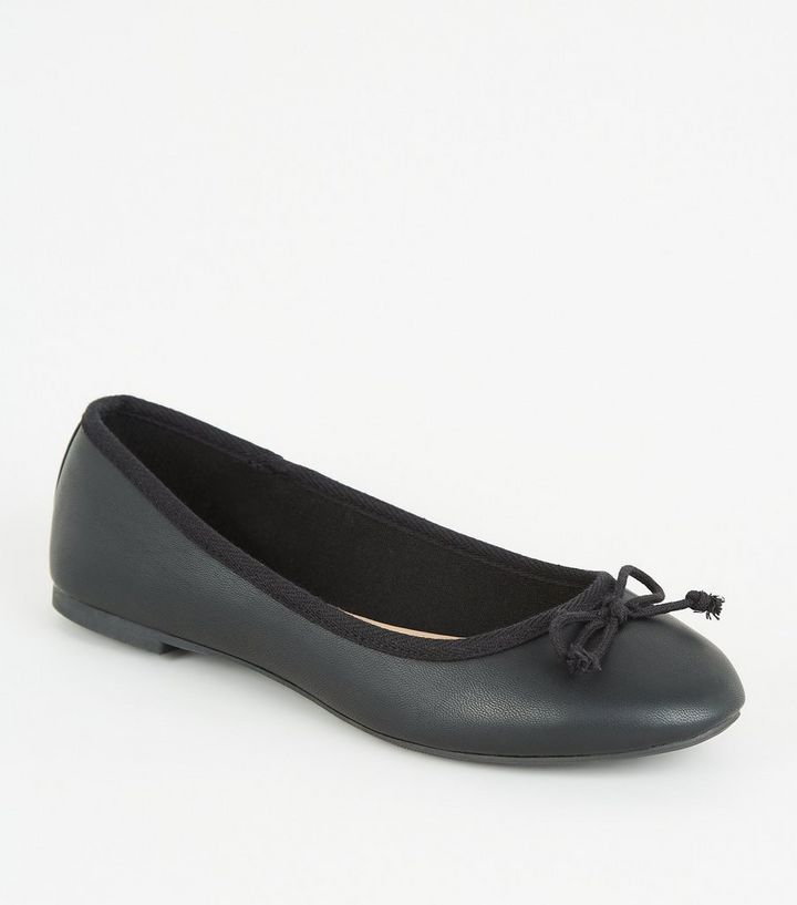 e862918f4d Black Leather-Look Bow Front Ballet Pumps | New Look