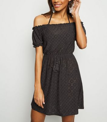 Black Broderie Bardot Beach Dress