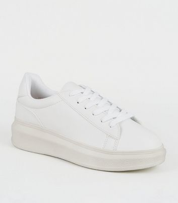 White Leather-Look Lace Up Chunky Trainers