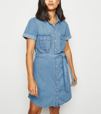 Petite Blue Denim Shirt Dress