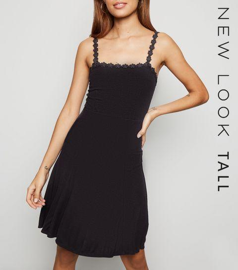 c73014b2144 ... Tall Black Daisy Trim Jersey Mini Dress ...