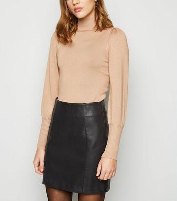 Black Leather-Look Mini Skirt