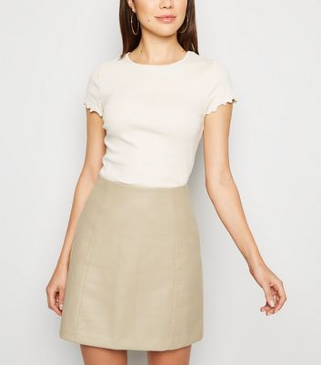 Nude Leather-Look Mini Skirt