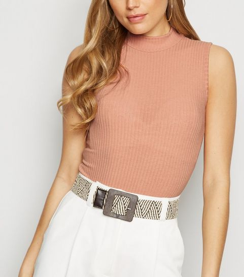 7d83018b27826 ... Pale Pink Ribbed Sleeveless Turtleneck Bodysuit ...
