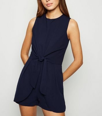 AX Paris Navy Tie Front Playsuit