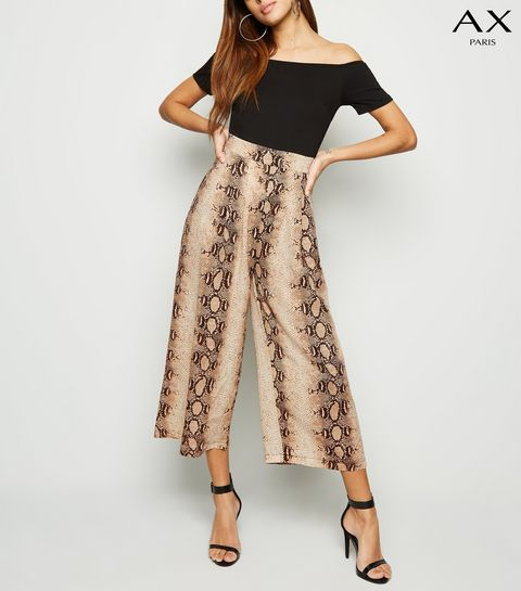a3e52816c3 ... AX Paris Black Snake Print 2 in 1 Bardot Jumpsuit ...
