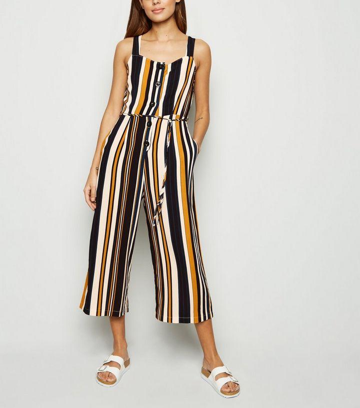 5146e3c867090a AX Paris Blue Stripe Button Front Jumpsuit | New Look