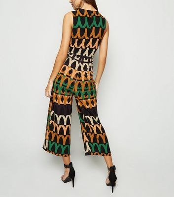 AX Paris Black Abstract Tie Front Culotte Jumpsuit New Look