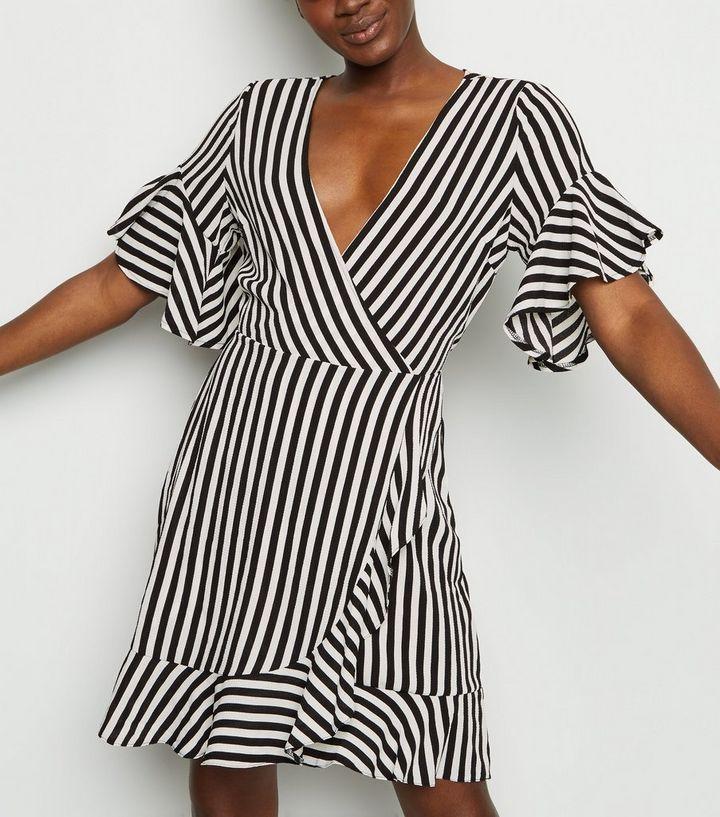25b0a692549 AX Paris Black Stripe Wrap Front Dress